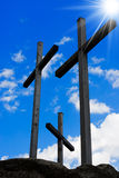 Golgotha - Three Crosses on Blue Sky Royalty Free Stock Photos