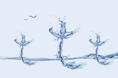 Golgotha. Three crosses made of water with flying birds.nn Royalty Free Stock Images