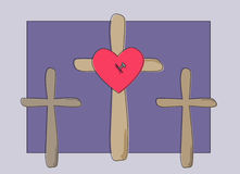Golgotha. Three wooden crosses on dark blue grey background, nailed heart of Jesus Christ Royalty Free Stock Photos