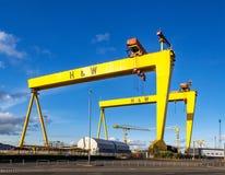 goliath samson Berömda skeppsvarvkranar i Belfast Arkivbild