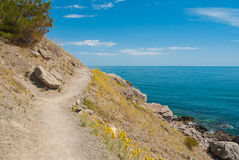 Golitsyn path near Koba-Kaya mountain in Noviy Svet resort on a Black Sea shore Royalty Free Stock Photo