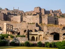 Golkonda fort architecture, Hyderabad, India. Golkonda is a citadel and fort in Southern India and was the capital of the medieval sultanate of the Qutb Shahi royalty free stock photos