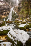 Gollinger Waterfall at wintertime, Austria Royalty Free Stock Photos