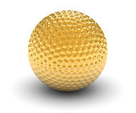 Goloden Golf Ball. Golden golf ball isolated on a white background. Part of a series Stock Photography