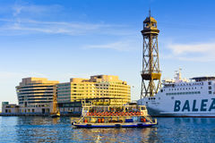 The Golondrina tourist boat. The Golondrina boat at harbour. Port Vell, Barcelona, Catalonia, Spain Stock Image