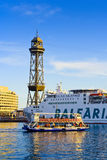 The Golondrina tourist boat. The Golondrina boat at harbour. Port Vell, Barcelona, Catalonia, Spain Stock Photos