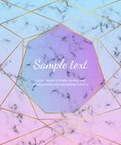 Golorful geometric cover design with gold lines, triangles on the marble texture. Trendy elegant luxury polygonal frame. Template. For invitation, card, banner royalty free stock photos