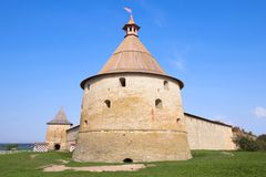 Golovin Tower close-up, sunny September afternoon. Oreshek Fortress. Leningrad Region stock images