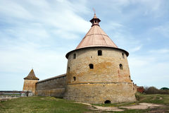 Golovina tower of the fortress at Shlisselburg city. Fortress called Oreshek Royalty Free Stock Images