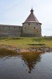Golovina tower of the fortress at Shlisselburg city. Fortress called Oreshek Stock Photos