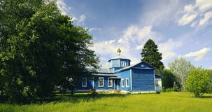 Golovintsy, Gomel District, Gomel Region, Belarus. Old Wooden Orthodox Church Of The Protection Of The Holy Virgin stock footage