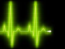 Golpe de corazón verde. Gráfico de Ekg. EPS 8 Fotografía de archivo