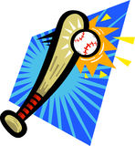 Golpe del bate de béisbol Imagen de archivo libre de regalías