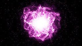 Golpe grande, explosão roxa grande no espaço Golpe grande, começos do universo Fundo loopable da astronomia para ilustração royalty free
