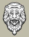 Golpeador de puerta de la cabeza de Llion Línea estilo del arte Imagen de archivo libre de regalías