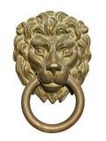 Golpeador de puerta medieval, recorte de bronce de la pista del león Foto de archivo