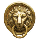 Golpeador de puerta principal del león Imagen de archivo