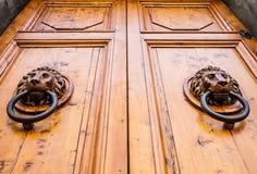 Golpeador de puerta principal del león Fotos de archivo libres de regalías