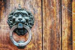 Golpeador de puerta principal del león en hdr Fotos de archivo libres de regalías