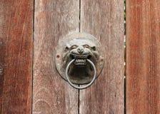 golpeador de puerta, tirador de la cabeza del león de A en una puerta vieja de la placa de madera Fotografía de archivo