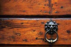Golpeador del león del metal de la puerta Fotografía de archivo