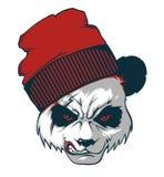 Golpeador enojado de la panda Panda con un casquillo de las lanas stock de ilustración