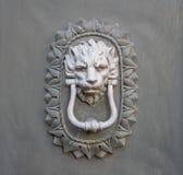 Golpeador principal del león en una puerta de madera vieja Imágenes de archivo libres de regalías