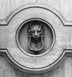 Golpeador principal del león en una puerta de madera vieja en Toscana Imágenes de archivo libres de regalías