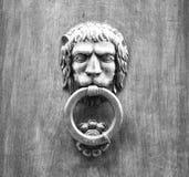 Golpeador principal del león en una puerta de madera vieja en Toscana Fotografía de archivo libre de regalías