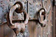 Golpeadores de puerta de la catedral Imagenes de archivo