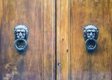 Golpeadores principales del león en una puerta de madera vieja Imagenes de archivo