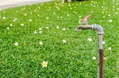 Golpecito de agua oxidado viejo en jardín Imagenes de archivo