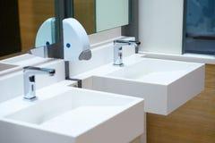 Golpecito de cerámica blanco del fregadero y de agua con el dispensador del jabón en roo del baño fotografía de archivo libre de regalías