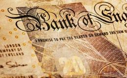 Golpee el fondo de la moneda - 20 libras - sepia del vintage Foto de archivo