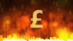 Golpee la muestra que pulsa en el fondo ardiente, reglas del dinero el mundo, avaricia, obsesión stock de ilustración