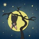 Golpeie a suspensão em uma árvore seca no fundo da Lua cheia e da noite estrelado ilustração stock