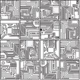 Golpeteo abstracto de la placa de circuito de la electrónica del ordenador Foto de archivo