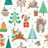 Golpeteo de la Navidad con los animales lindos Imagen de archivo libre de regalías