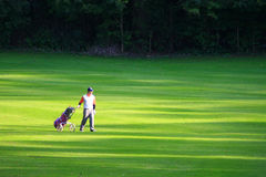 Golpher walking the fairway on a perfect summer's day. Golfing on a Marvelous Summer's Day Stock Photos