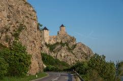 Golubac堡垒/城堡,修造在14世纪,在禁令 库存照片