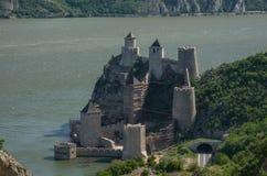 Golubac堡垒/城堡,修造在14世纪,在禁令 库存图片
