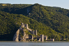Golubac fortress. In Serbia on the river of Danube.The ancient fort was built in the 13th Century and used for customs (taxes) for boats plying the river.It is Royalty Free Stock Photo