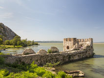 Golubac fortress on Danube river close to Romanian and Serbian b Royalty Free Stock Photos