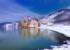 Golubac fortress on Danube river, Serbia. Winter picture. Ancient fortress on the riverside with little curve on the river. Beautiful picture with reflections stock photography