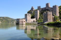 Golubac Fortress, Serbia. Golubac Fortress - Medieval landmark in Serbia. Danube river view royalty free stock images