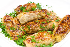 Golubci. Traditional russian food. Made from cabbage leaves filled with meat and rice stock images