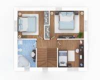 golv 2 av den möblerade lägenheten Royaltyfria Bilder