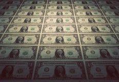 Golv av en dollar sedlar Tappninglynne Royaltyfria Bilder