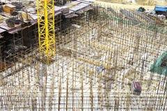 Golv för förstärkt betong under byggnad Royaltyfria Foton
