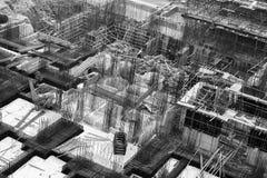 Golv för förstärkt betong under byggnad Royaltyfri Bild